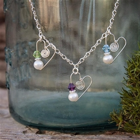 Mama Love Birthstone Heart Necklace