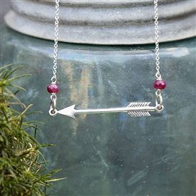 Modern Arrow and Birthstone Necklace