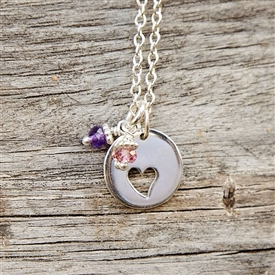 Open Heart Charm Necklace - Circle