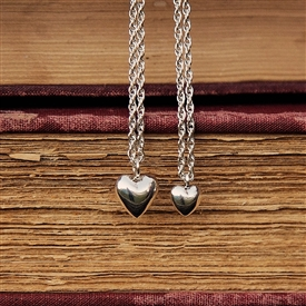 Mother Daughter Puffy Heart Necklace Set