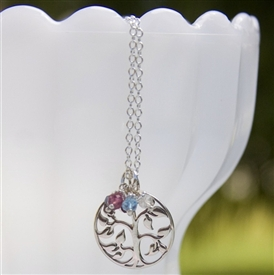 Family Tree Birthstone Charm Necklace in Sterling Silver