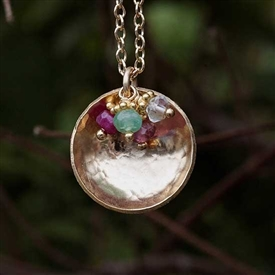 Hammered Domed Birthstone Charm Necklace