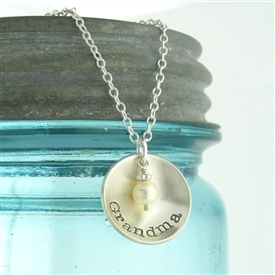 Domed Hand-Stamped Personalized Charm necklace in silver or gold-filled.