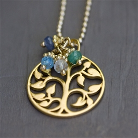 Family Tree Birthstone Charm Necklace in Gold