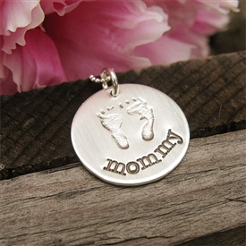 Precious Baby Feet Stamped Necklace in Sterling Silver by {Jules} jewelry designs.