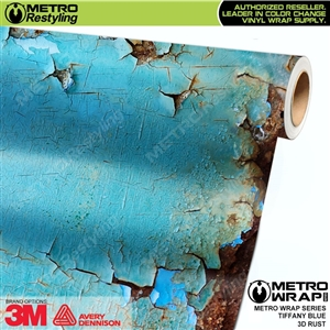 Metro 3D Tiffany Blue Rust Vinyl Wrap Film