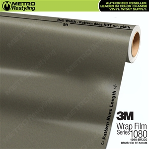 3M Scotchprint 1080 BR230 Brushed Titanium Vinyl Flex Wrapping Film