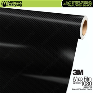3M Scotchprint 1080-SF12 Black Straight Fiber Vinyl Flex Wrapping Film