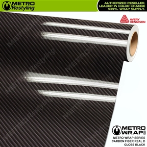 Avery Dennison Printed High Gloss Real D Black Carbon Fiber Vinyl Wrap
