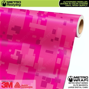 Large Digital Elite Magenta Camouflage Vinyl Wrap Film