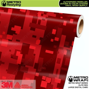 Large Digital Elite Red Camouflage Vinyl Wrap Film