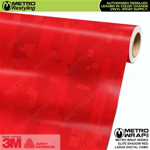 Large Digital Elite Shadow Red Camouflage Vinyl Wrap Film