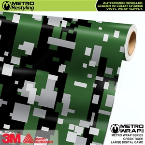 Large Digital Green Tiger Camouflage Vinyl Wrap Film