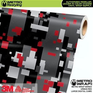 Large Digital Urban Red Camouflage Vinyl Wrap Film