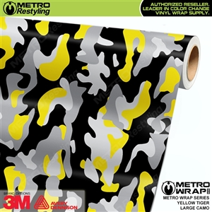 Large Yellow Tiger Camouflage Vinyl Wrap Film