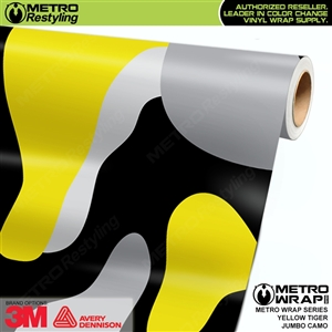 Jumbo Yellow Tiger Camouflage Vinyl Wrap Film