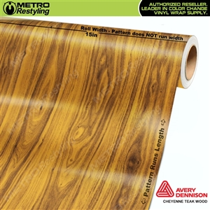 Flexible Cheyenne Teak Wood Grain Vinyl Wrap Film