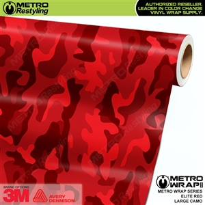 Elite Red Large Camouflage Vinyl Wrap Film