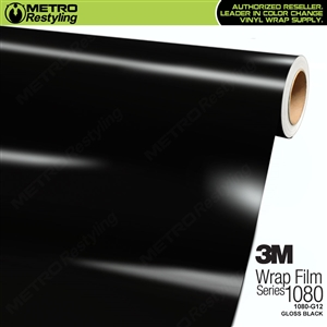 3M 1080 G12 Scotchprint Gloss Black Vinyl Car Wrapping Film.