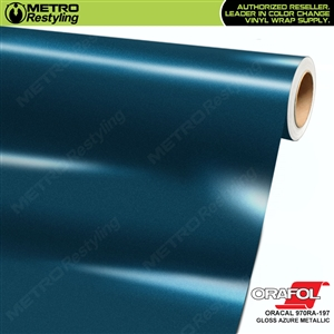 ORACAL Series 970RA High Gloss Azure Blue Metallic Vinyl Wrap Film W/Rapid Air