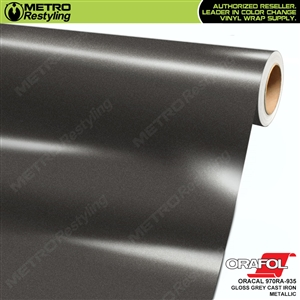 ORACAL Series 970RA High Gloss Grey Cast Iron Metallic Vinyl Wrap Film W/Rapid Air
