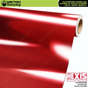 Hexis Gloss Red Super Chrome Vinyl Wrap | HX30SCH02B