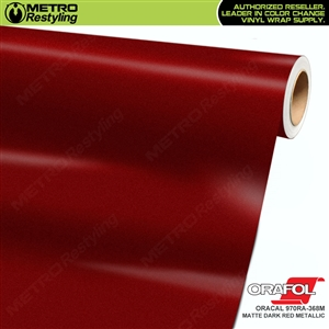 ORACAL Series 970RA Matte Dark Red Metallic Vinyl Wrap Film W/Rapid Air