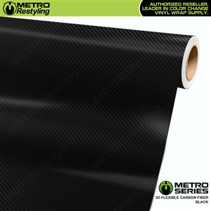Black Metro 3D Carbon Fiber Wrap Series Vinyl