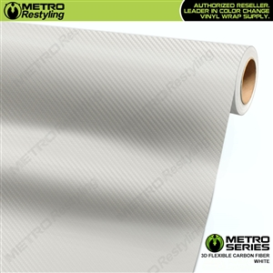 White Metro 3D Flexible Carbon Fiber Vinyl Wrap