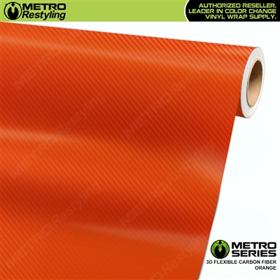Orange Metro 3D Flexible Carbon Fiber Vinyl Wrap