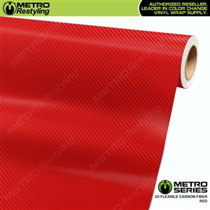 Red Metro 3D Flexible Carbon Fiber Vinyl Wrap