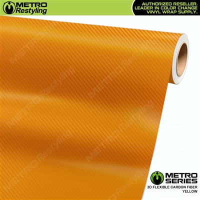 Yellow Metro 3D Flexible Carbon Fiber Vinyl Wrap