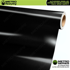 Metro Series Ultra High Gloss Black 4D Carbon Fiber Vinyl Film
