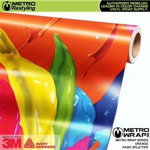 Metro Orange Paint Splatter Vinyl Wrap Film