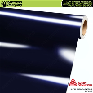 Metro Avery Dennison Gloss Ultra Marine Conform Chrome Flexible Vinyl Wrap Film