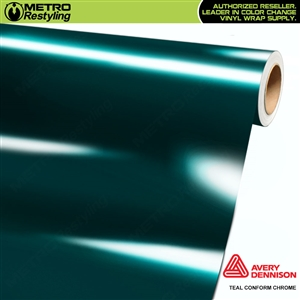 Metro Avery Dennison Gloss Teal Conform Chrome Flexible Vinyl Wrap Film