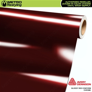 Metro Avery Dennison Gloss Bloody Red Conform Chrome Flexible Vinyl Wrap Film