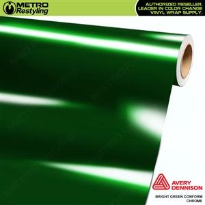 Metro Avery Dennison Gloss Bright Green Conform Chrome Flexible Vinyl Wrap Film