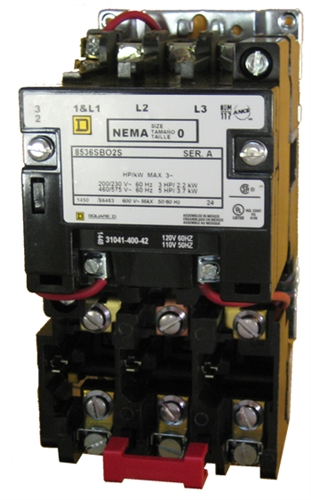 Square D 8536sbo2v02s Size 0 Nema Rated Starter With A 110  120 Volt Ac Coil And Melting Alloy