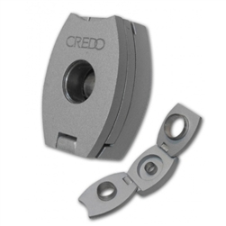 Credo 3-in-1 Cigar Punch Cutter, Silver - Oval. 3 Punch Cutters in One Device | Credo Humidifiers.com