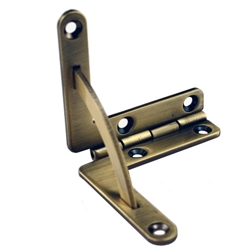 Small Quadrant Hinge - Solid Brass Antique Finish