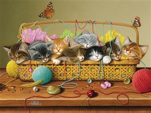 350pc Basket Case cat jigsaw puzzle | Cobble Hill Puzzle Company