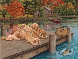 275 piece Easy Handling Lazy Day on the Dock dog and cabin puzzle  | 88004 | Cobble Hill Puzzle Company