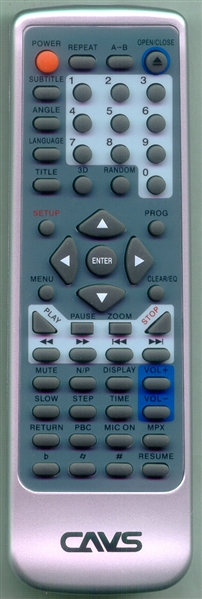 CAVS DVD203G<B>Genuine OEM original Remote
