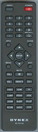 DYNEX 6010700101 RC7010A Genuine OEM Original Remote