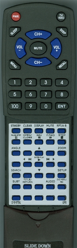 GPX D1816TSIL Custom Built Replacement Redi Remote