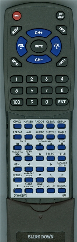 GPX DV3000-REM Custom Built  Replacement Redi Remote