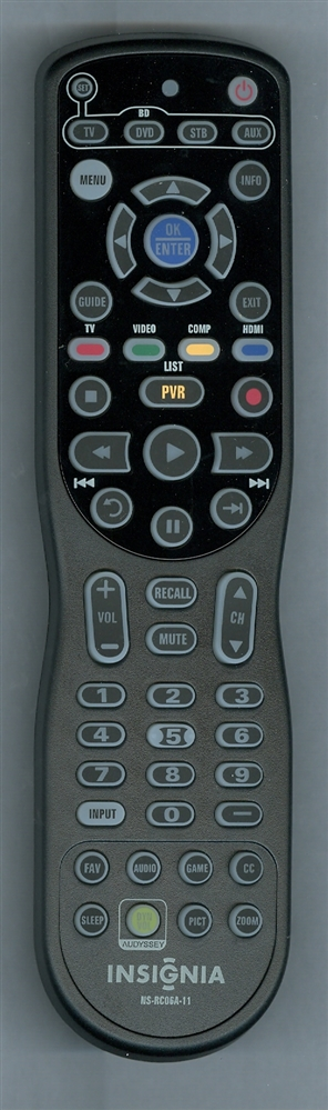 INSIGNIA 098GRABDSNEBYU NS-RC06A-11 Refurbished Genuine OEM Remote
