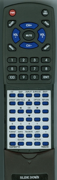PANASONIC N2QAYB000779S INSERT  Custom Built  Replacement Redi Remote