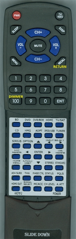 PIONEER AXD7612 INSERT Custom Built Replacement Redi Remote